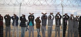 African asylum seekers take part in a day of protest at the Holot detention center in Israel's southern Negev desert, Feb. 17, 2014. (Ilia Yefimovich/Getty Images)