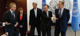 Quartet members (l-r) envoy Tony Blair, EU High Representative for Foreign Affairs Catherine Ashton, Secretary of State John Kerry, U.N. Secretary-General Ban Ki-moon and Russian Foreign Minister Sergei Lavrov at U.N. headquarters in New York, Sept. 27, 2013. (STAN HONDA/AFP/GETTY IMAGES)