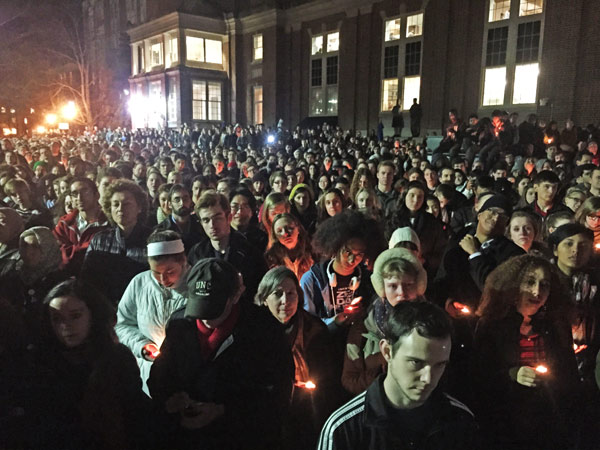 People gathered to honor the victims in chapel hill
