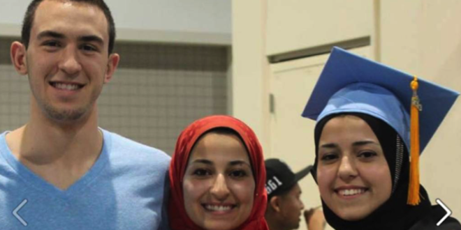 The victims from the left to right : Deah,Yusor, And Razan