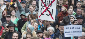 Demonstrators attend a protest on a national day of action against Bill C-51, the government's proposed anti-terrorism legislation, outside the Vancouver Art Gallery in downtown Vancouver, Saturday, March 14, 2015.